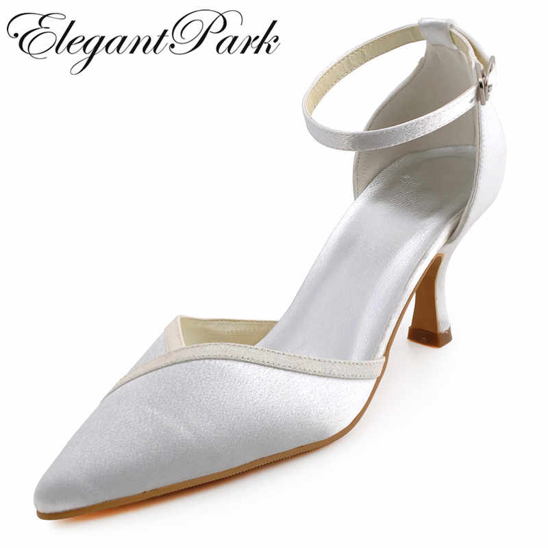 A1006 Women Ivory Pointed Toe Mid Heel Ankle Strap Shoes Satin Lady Bride  bridesmaids Prom Party 4d1744ad17c2