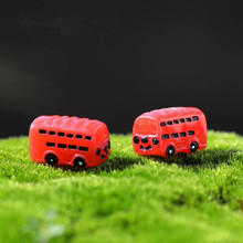 Min order $ 5,2pcs/set cute artificial Red Bus miniatures fairy garden gnome Figurines decorations accessories for home diy(China)