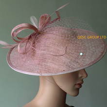 NEW Blush pink BIG sinamay hat fascinator w/feathers,veiling,sequin for races,wedding,kentucky derby.