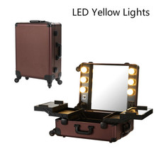 Coffee LED Yellow Light Makeup Artist Train Box Professional 4-Wheels Carry-on Removable Rolling Makeup Case