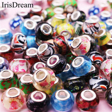 10 Pieces Lot Mixed Color Big Hole Round Loose Plastic Resin Glass Crystal Beads Fit European DIY Jewelry Pandora Bacelet Bangle(China)
