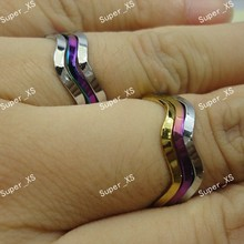 30Pairs Whole Stainless Steel Fashion Unisex 3 in 1 Wave Rings For Women Jewelry Bulk Lots LR356 Free Shipping(China)