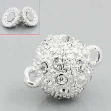 5 Sets Silver Plated Rhinestone Ball Magnetic Clasps For Jewelry Making