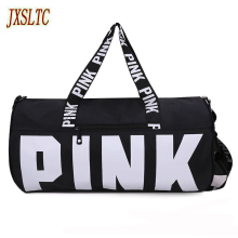 Pink Letter Printing Travel Storage Bag Women Tote Shoulder Lugage Bag Ladies Overnight Bag Large Nylon organizer Duffle Bags(China)