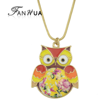 FANHUA New style Hot Selling Orange Color Enamel Cute Bird Owl Pendant Necklace Pendants