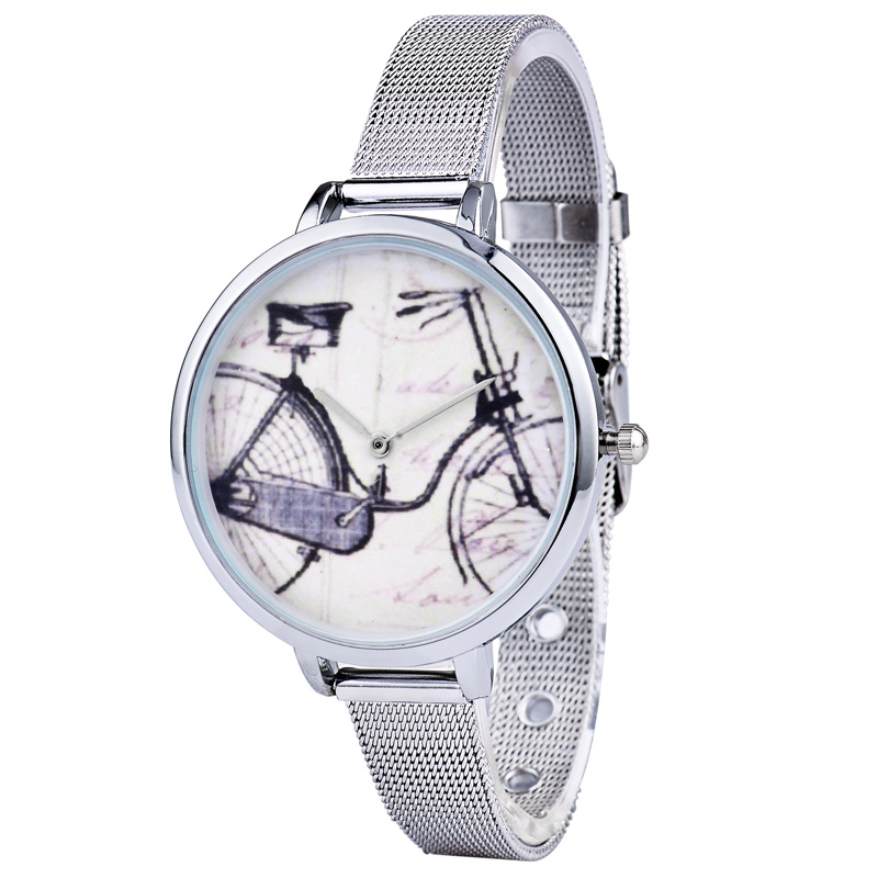 Hot 2016 High Quality Brand Watch 5 Patterns Elegant Casual Steel Mesh Design Ladies Big Dial Boutique Silver Quartz Watches<br><br>Aliexpress