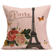 Retro Flower Pattern Cotton Linen Cushion Cover Vintage Eiffel Tower Printed Throw Pillow Case Home Sofa Bed Chair Decorative(China)