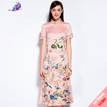 Runway Dresses 2017 Brand Designer High Quality Women Sexy Chinese Style Crane Embroidery Stand Collar Dress Free Fast Express(China)