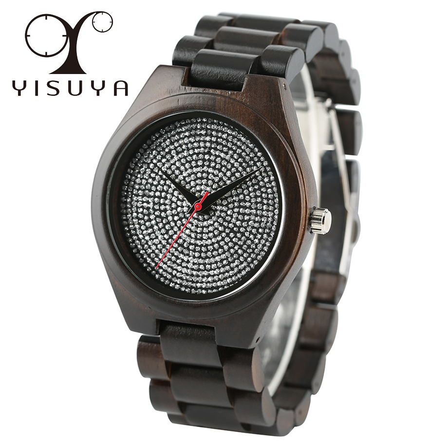 YISUYA Handmade Wooden Mens Watches Quartz Mens Full Wood Bangle Fold Clasp Luxury Blink Dial<br>