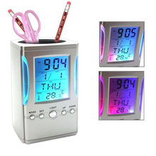 Gosear Creative LCD Display Electronic Digital Desk Table Calendar Thermometer Alarm Clock Pen Pencil Holder reloj despertador(China)