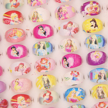 Fashion Jewelry Jewellery 100pcs popular cartoon high quality cartoon snow princess rings lovely barbie Resin Girl Rings Gift(China)