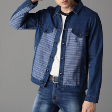 Spring Fall Fashion Menswear , Men's Casual Striped Patchwork Denim Jacket , Jeans Coat For Man , Male Slim Fitted Cool Jackets(China)