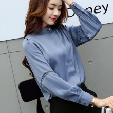 2017 Spring big size long sleeve stand collar satin shirts women office work wear satin blouses lady casual loose satin tops