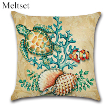 Sea Animals Cushion Cover Marine Ocean Linen Cotton Pillowcase Tropical Fish Turtle Shell Home Decor