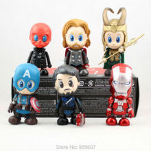 2015 new The Hero Captain America Iron Man Thor Red Skull 6pcs 8-10cm Action Figure for the children High quality gift(China)