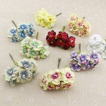6pcs pearl silk cheap Artificial Flowers garland head wreaths For wedding car decoration bouquet decorative corsage fake flower(China)
