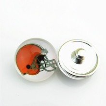 20pcs/lot USA Football Cleveland Browns Team Glass Snap Button Charm Fit 18mm Snap Button Jewelry Bracelet(China)