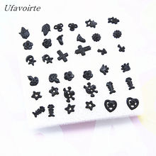 Ufavoirte 18 Pair/Set Classic Bead Claires Stud Earrings Set For Girls Gift Fashion Accessories black Silver color(China)