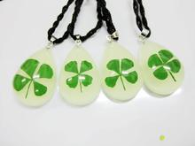 FREE SHIPPING 50 PCS Real Four Leaf Lucky Clover Shamrock Pendant Glow in Dark Drop Shape