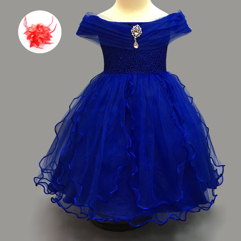 Kids Designer Clothes China Lovely Toddler Wedding Gown White Champagne Royal Blue Tulle Little Girls Dresses for Party<br>