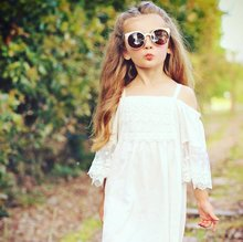 2017 Summer Toddler Kid Baby Girls dress off shoulder Solid White Lace Puffy Princess Dresses Strap short sleeve Sundress 1-6T