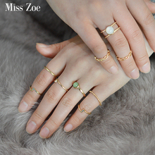 Miss Zoe 9pcs/set Minimalist Ring White Green Stone Hollow Geometric Ethnic Punk Joint Ring Gold Women DIY Finger Jewelry