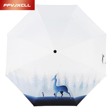 Korean Style Child Cartoon Elk Fully-automatic Umbrella Folding Sunny and Rainy Umbrella Parasol Super Strong Anti UV(China)