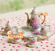 1:6 Scaled Tea Coffee Set With Pot Cup Saucer Dish For Fashion Doll China Porcelain 4 Colors Available(China)