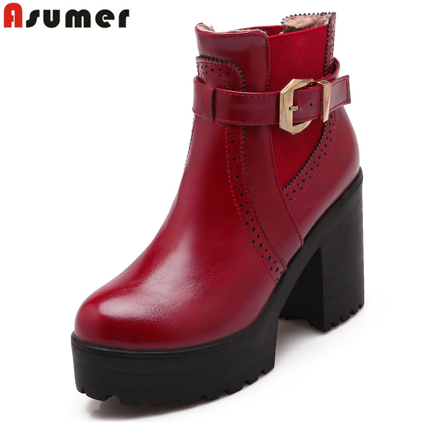 Asumer high quality pu leather new arrive high heels ankle boots round toe fashion buckle platform women boots black red beige<br>