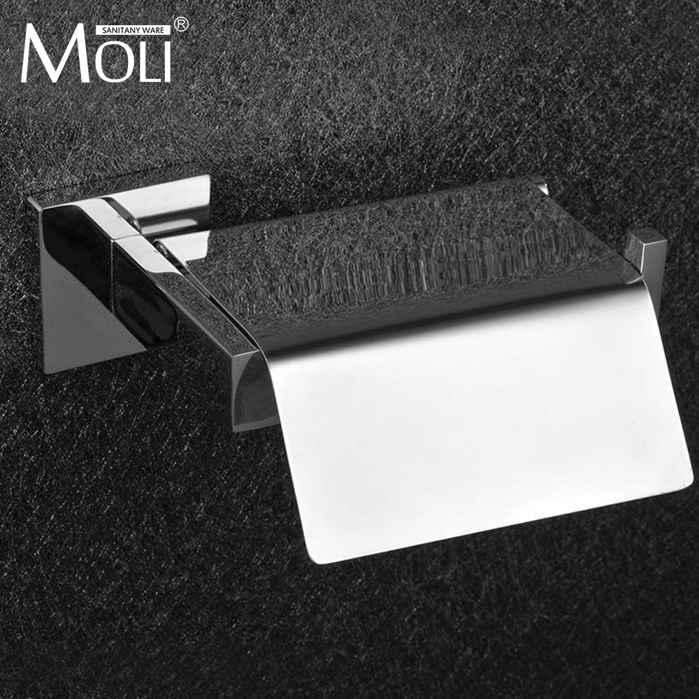 Stainless steel bathroom toilet paper holder with lid square waterproof toilet paper holders for bathroom accessories<br>