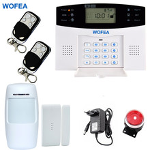 Wofea Russian English Spanish French Wired and Wireless LCD Home Security GSM alarm system 850 900 1800 1900MHz(China)
