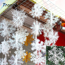 Tronzo Christmas Tree Decorations Snowflakes 30pcs 6cm White Plastic Artificial Snow Christmas Decorations for Home Navidad(China)