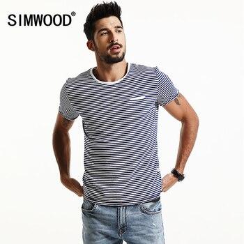 SIMWOOD 2017 Printemps D'été À Manches Courtes T Chemises Hommes Rayé De Mode T-shirts Slim Fit Plus Taille Haut-Breton TD1167