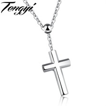 TENGYI Simple Stainless Steel Necklace For Lovers New Summer Style AAA+ CZ Cross Pendant Jewelry Men Necklace Women Gift TY1190