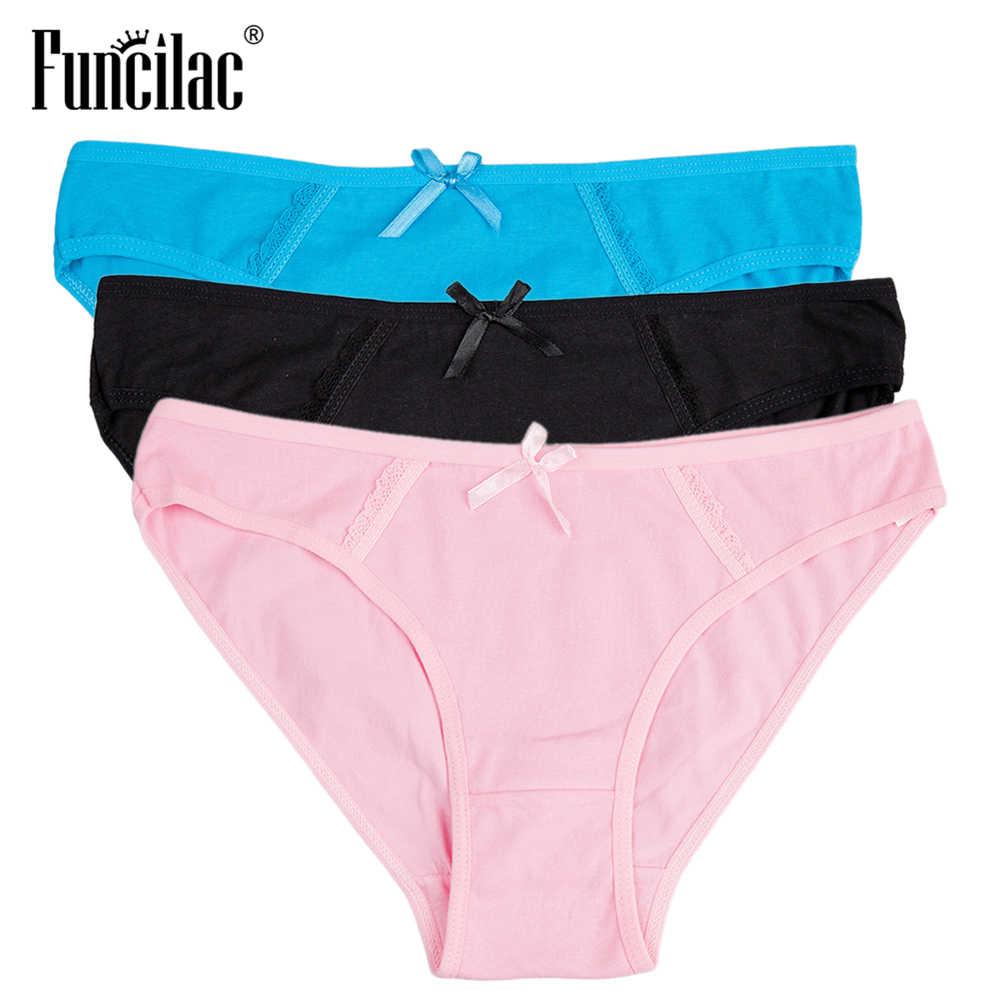 a818ffd419e FUNCILAC Women s Briefs Sexy Lace Transparent Underwear Pink Cotton Ladies  Panties Plus Size Seamless Lingerie M