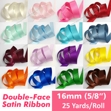 "(25 Yards) 16mm Double Face Satin Ribbon Tape High Quality 100% Polyester Double Sided 5/8"" Ribbon DIY Home Textile DIY Crafts(China)"