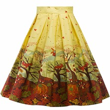 Women's Vintage Floral Print Swing A Line Skirt Casual Party Cotton Midi Skirts 19 Colour(China)