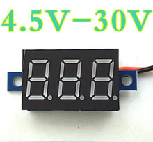 Mini 0.36 inch  DC 4.5V-30.0V 3 bits two wire Voltmeter  Red  LCD display Digital Volt  Gauge voltage meter  Voltmeter