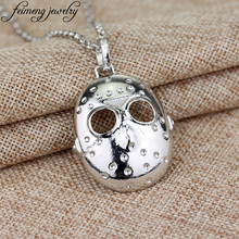 Horror Film The 13th Black Friday Necklace Hockey Killer Jason Mask silvery Metal Pendant Fashion Jewelry Accessories For Men