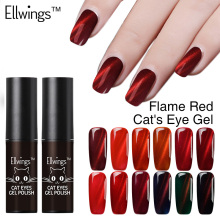 Ellwings Glitter 3D Colors Flame Red Cat's Eye Nail Gel Polish Uv Gel Varnish Glitter Magnet 2017 Newest DIY Gel Lacquer(China)