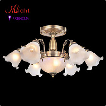 European Traditional Style Chandelier Six Bronze Arms Frosted Glass Living Room Lamp
