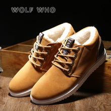 WOLF 누가 2018 New Winter Shoes Men 편안한 퍼 Male Boots Fashion Super Warm 화 Man Winter Men's Boots dropshiping W-061(China)