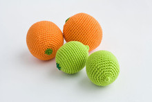 Crochet handmade Orange baby rattle play food friendly toys(China)