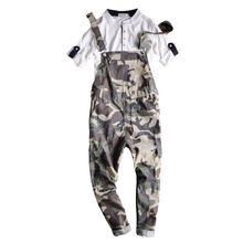 2017 Men Summer Camouflage Jumpsuit Men Camo Cargo Pants Male Multi Pockets Hip-Hop Bib Overalls Slim Camouflage Trousers 062601(China)