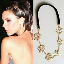 TS313 Fashion Gold Alloy Romantic Olive Branch Leaves Head Bands For Women Elastic Hair Accessories Jewelry