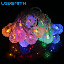 Ledsmith Led String Light Crystal Bubble Ball 1M/2M 10/20led Waterproof Holiday Christmas Wedding Party Outdoor Fairy Light Lamp(China)