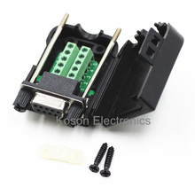 DB9 serial COM transfer-free solder terminals RS232 female connector with back side screw DIY