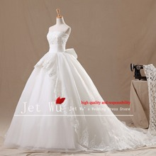 2015 new real picture of modern ball gown lace appliqued royal train wedding dress vestido de novia manufacturer 7023(China)