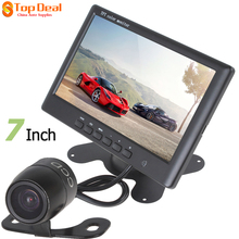 "Sale HD 800 X 480 Super Thin 7"" TFT LCD 2 Channels Video Input Rear View Monitor + E306 18mm Color CMOS Car Reversing Camera"