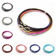 "100 strands/lot 1mm Stainless Steel Wire Necklace With Brass Screw Clasp For diy Jewelry Making 17.5""(China)"
